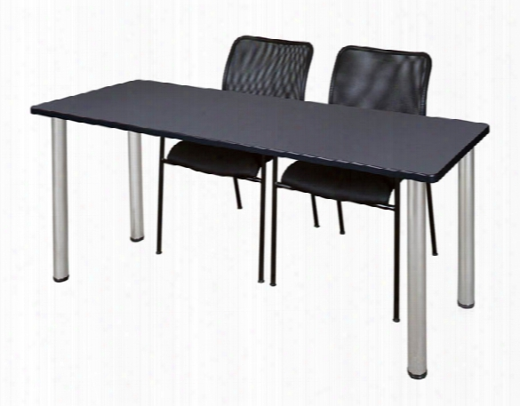 """60"""" X 24"""" Training Table- Gray/ Chrome & 2 Mario Stack Chairs- Black By Regency Furniture"""