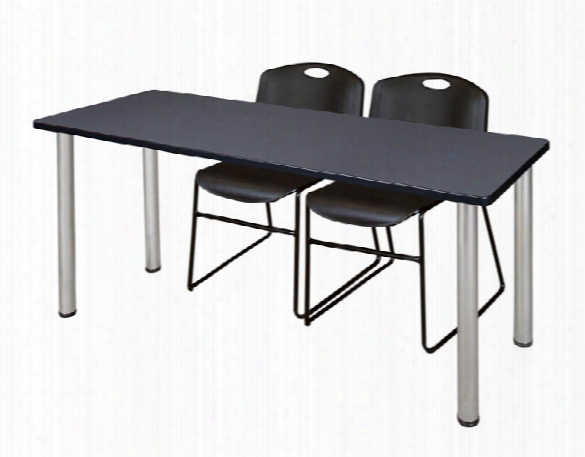 "60"" X 24"" Training Table- Gray/ Chrome & 2 Zeng Stack Chairs By Regency Furniture"