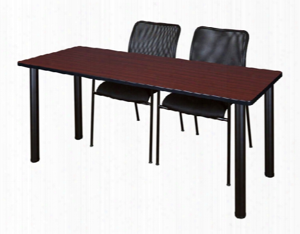 "60"" X 24"" Training Table- Mahogany/ Black & 2 Mario Stack Chairs- Black By Regency Furniture"