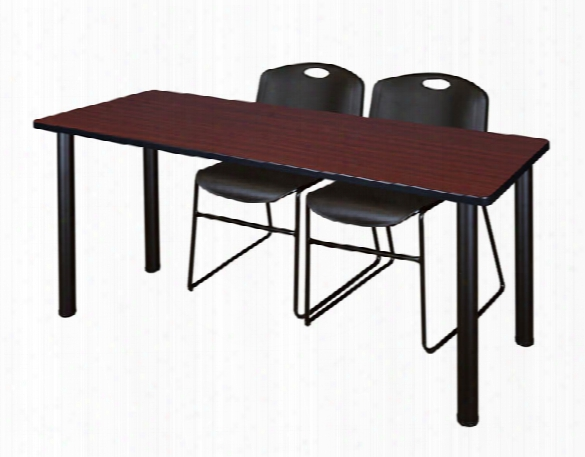 "60"" X 24"" Training Table- Mahogany/ Black & 2 Zeng Stack Chairs By Regency Furniture"
