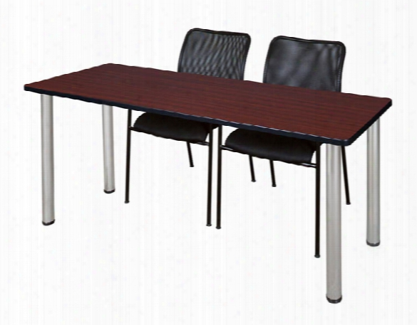 "60"" X 24"" Training Table- Mahogany/ Chrome & 2 Amrio Stack Chairs- Black By Regency Furniture"