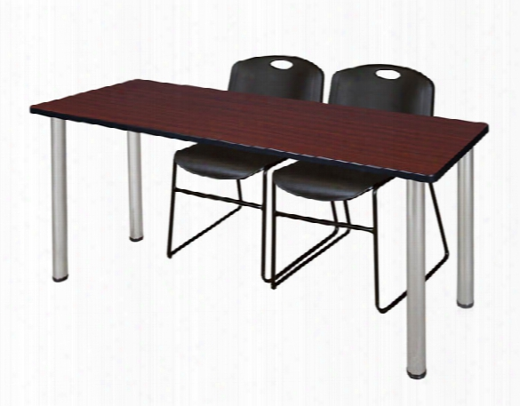"""60"""" X 24"""" Training Table- Mahogany/ Chrome & 2 Zeng Stack Chairs By Regency Furniture"""