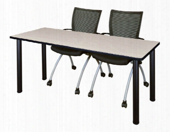 "60"" X 24"" Training Table- Maple/ Black & 2 Apprentice Chairs- Black By Regency Furniture"