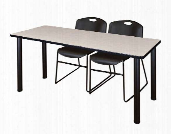 """60"""" X 24"""" Training Table- Maple/ Black & 2 Zeng Stack Chairs By Regency Furniture"""