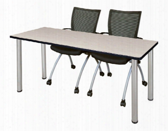 "60"" X 24"" Training Table- Maple/ Chrome & 2 Apprentice Chairs- Black By Regency Furniture"