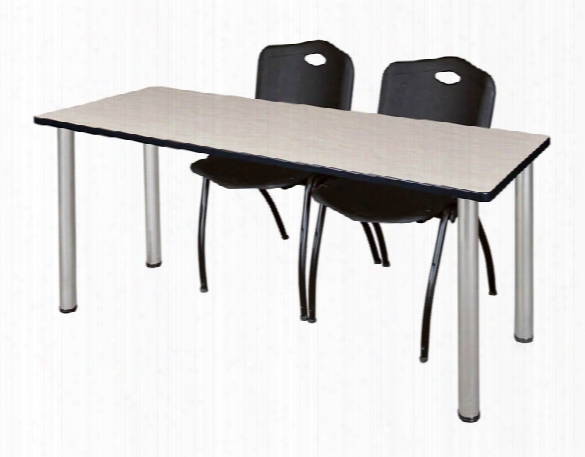"60"" X 24"" Training Table- Maple/ Chrome & 2 'm' Stack Chairs By Regency Furniture"