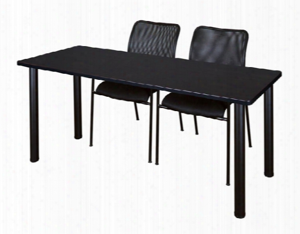 "60"" X 24"" Training Table- Mocha Walnut/ Black & 2 Mario Stack Chairs By Regency Furniture"
