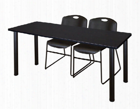 "60"" X 24"" Training Table- Mocha Walnut/ Black & 2 Zeng Stack Chairs By Regency Furniture"