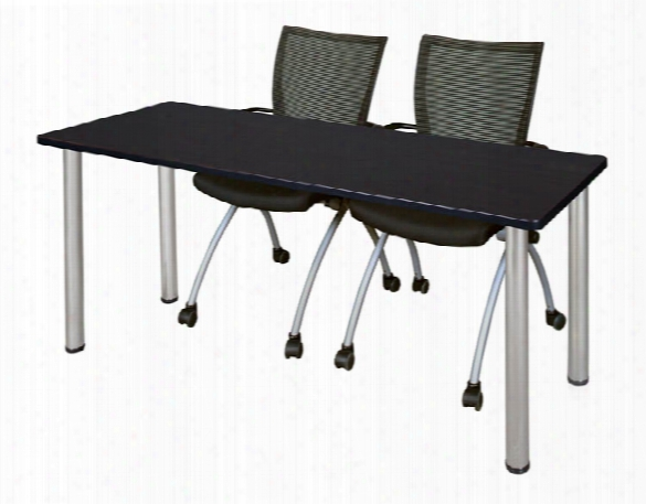 "60"" X 24"" Training Table- Mocha Walnut/ Chrome & 2 Apprentice Chairs- Black By Regency Furniture"