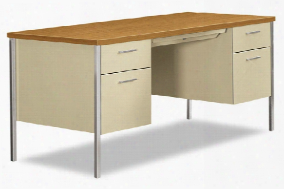 "60""w X 30""d X 29-1/2""h Double Pedestal Desk By Hon"