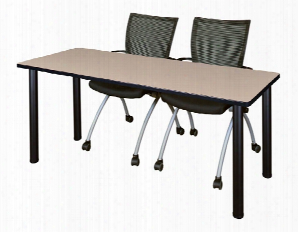 "66"" X 24"" Training Table- Beige/ Black & 2 Apprentice Chairs- Black By Regency Furniture"