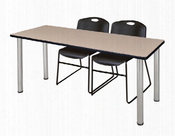 "66"" X 24"" Training Table- Beige/ Chrome & 2 Zeng Stack Chairs By Regency Furniture"
