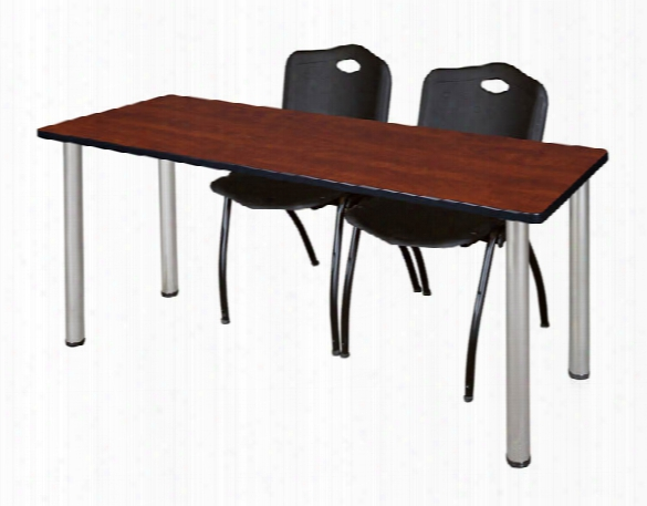 """66"""" X 24"""" Training Table- Cherry/ Chrome & 2 'm' Stack Chairs By Regency Furniture"""