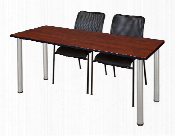 "66"" X 24"" Training Table- Cherry/ Chrome & 2 Mario Stack Chairs- Black By Regency Furniture"