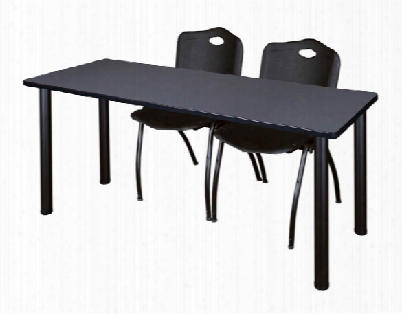 "66"" X 24"" Training Table- Gray/ Black & 2 'm' Stack Chairs By Regency Furniture"