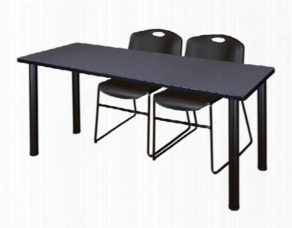 "66"" X 24"" Training Table- Gray/ Black & 2 Zeng Stack Chairs By Regency Furniture"