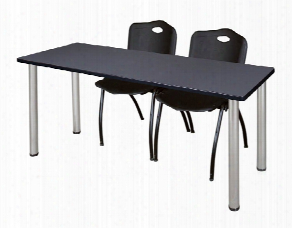 "66"" X 24"" Training Table- Gray/ Chrome & 2 'm' Stack Chairs By Regency Furniture"
