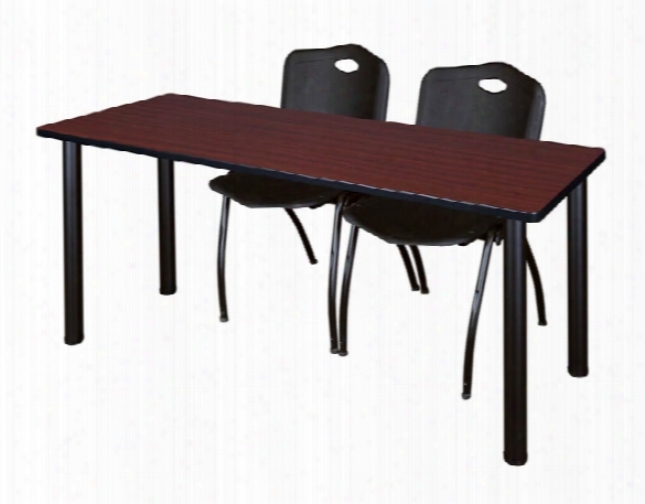 "66"" X 24"" Training Table- Mahogany/ Black & 2 'm' Stack Chairs By Regency Furniture"