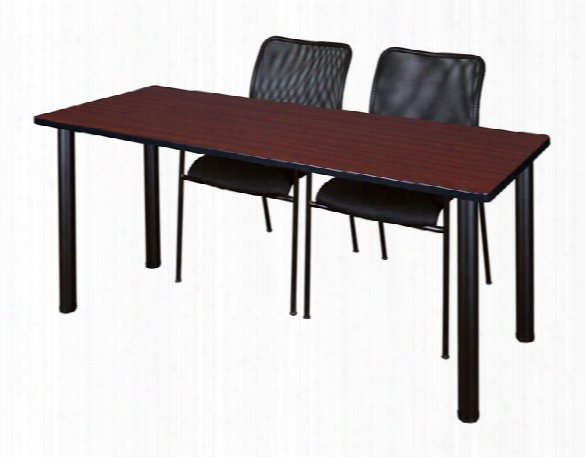 "66"" X 24"" Training Table- Mahogany/ Black & 2 Mario Stack Chairs- Black By Regency Furniture"