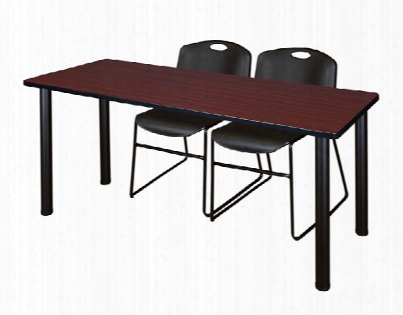 "66"" X 24"" Training Table- Mahogany/ Black & 2 Zeng Stack Chairs By Regency Furniture"