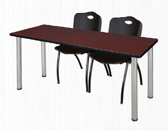 "66"" X 24"" Training Table- Mahogany/ Chrome & 2 'm' Stack Chairs By Regency Furniture"