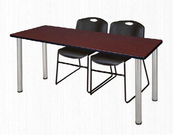 "66"" X 24"" Training Table- Mahogany/ Chrome & 2 Zeng Stack Chairs By Regency Furniture"