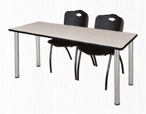 "66"" X 24"" Training Table- Maple/ Chrome & 2 'm' Stack Chairs By Regency Furniture"