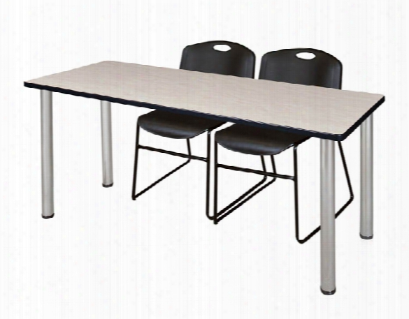 "66"" X 24"" Training Table- Maple/ Chrome & 2 Zeng Stack Chairs By Regency Furniture"