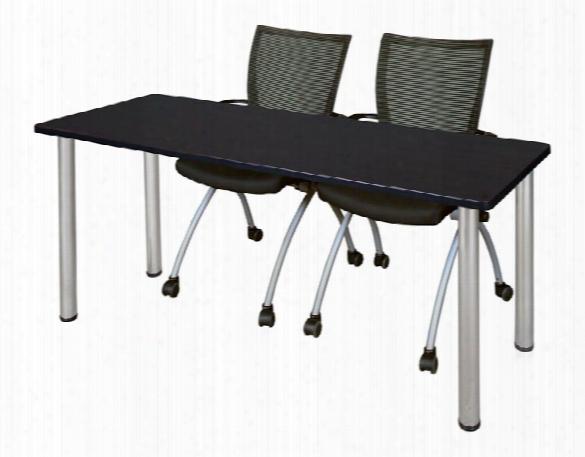 "66"" X 24"" Training Table- Mocha Walnut/ Chrome & 2 Apprentice Chairs- Black By Regency Furniture"