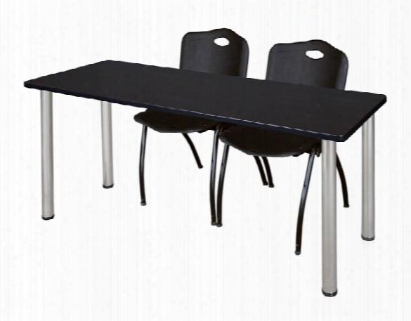 "66"" X 24"" Training Table- Mocha Walnut/ Chrome & 2 'm' Stack Chairs By Regency Furniture"