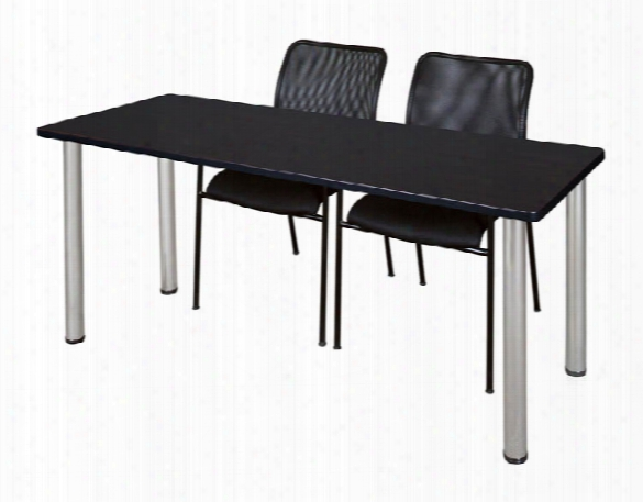 "66"" X 24"" Training Table- Mocha Walnut/ Chrome & 2 Mario Stack Chairs- Black By Regency Furniture"