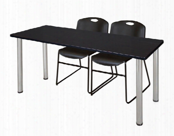 "66"" X 24"" Training Table- Mocha Walnut/ Chrome & 2 Zeng Stack Chairs By Regency Furniture"