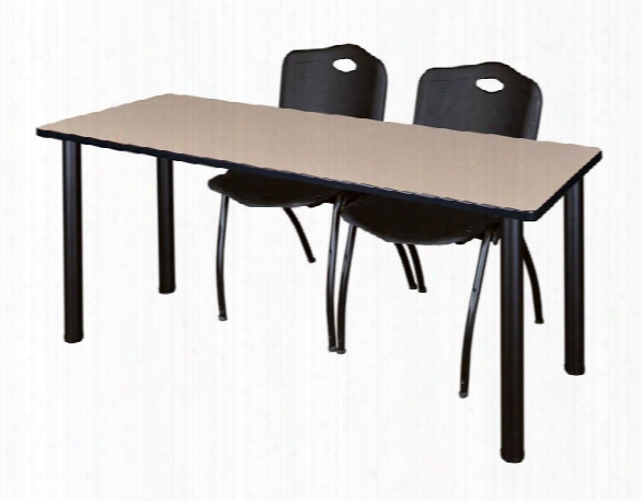 "72"" X 24"" Training Table- Beige/ Black & 2 'm' Stack Chairs By Regency Furniture"