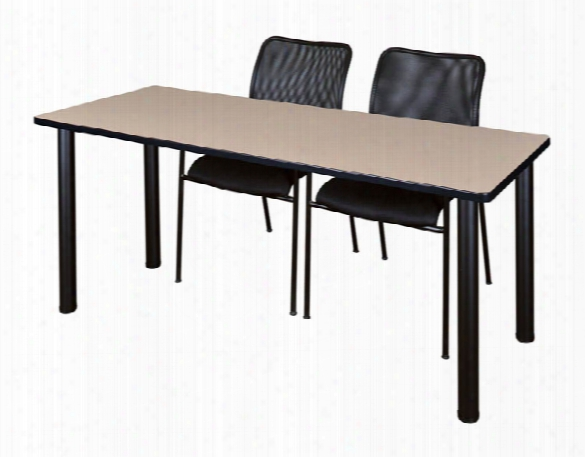 "72"" X 24"" Training Table- Beige/ Black & 2 Mario Stack Chairs- Black By Regency Furniture"
