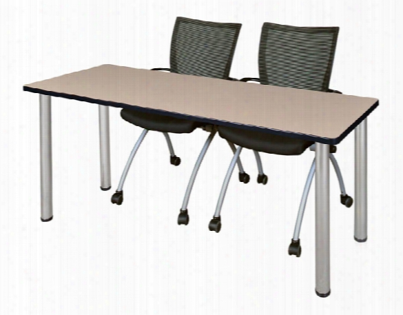 "72"" X 24"" Training Table- Beige/ Chrome & 2 Apprentice Chairs- Black By Regency Furniture"