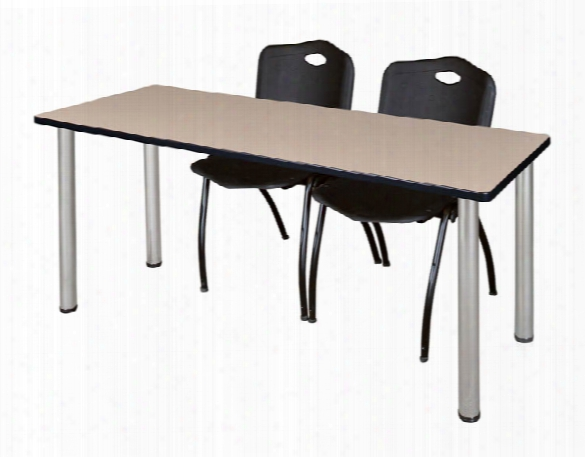 "72"" X 24"" Training Table- Beige/ Chrome & 2 'm' Stack Chairs By Regency Furniture"