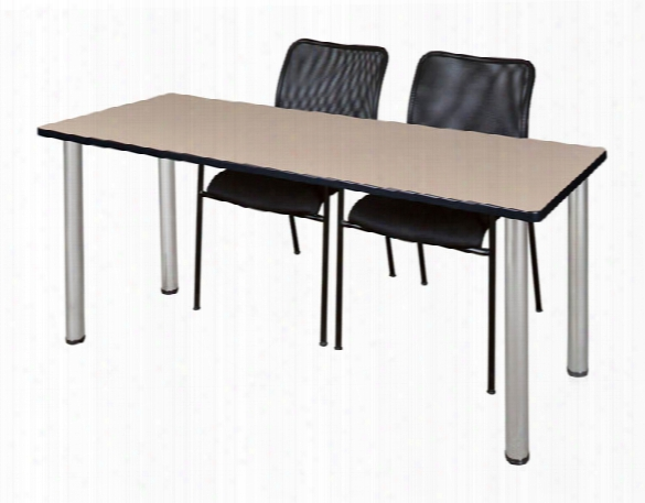 "72"" X 24"" Training Table- Beige/ Chrome & 2 Mario Stack Chairs- Black By Regency Furniture"