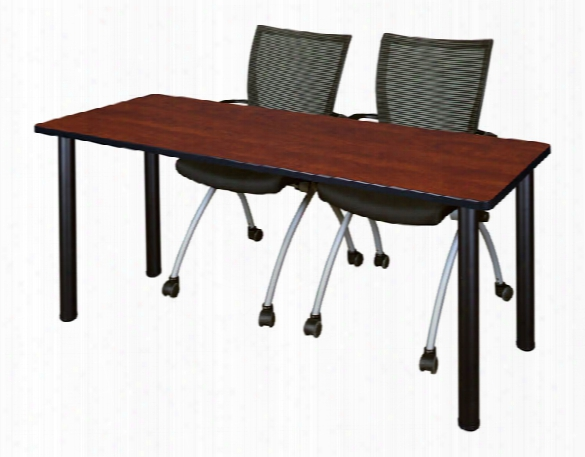 "72"" X 24"" Training Table- Cherry/ Black & 2 Apprentice Chairs- Black By Regency Furniture"