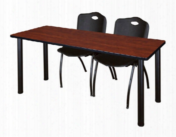 """72"""" X 24"""" Training Table- Cherry/ Black & 2 'm' Stack Chairs By Regency Furniture"""