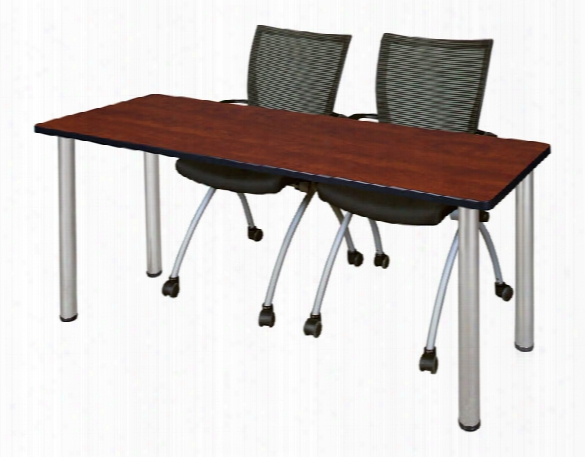 "72"" X 24"" Training Table- Cherry/ Chrome & 2 Apprentice Chairs- Black By Regency Furniture"