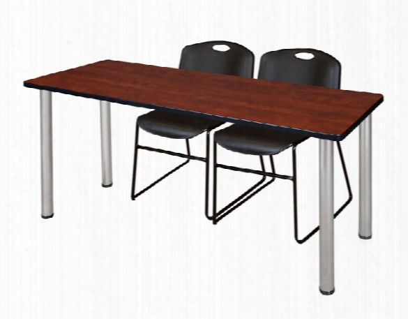 "72"" X 24"" Training Table- Cherry/ Chrome & 2 Zeng Stack Chairs By Regency Furniture"