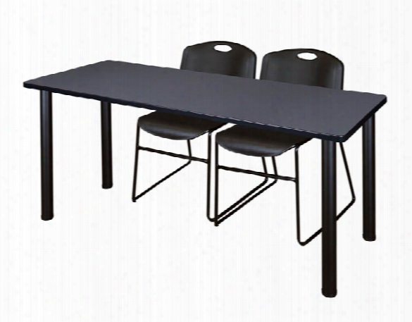 "72"" X 24"" Training Table- Gray/ Black & 2 Zeng Stack Chairs By Regency Furniture"