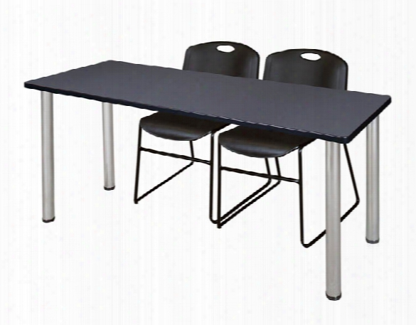 "72"" X 24"" Training Table- Gray/ Chrome & 2 Zeng Stack Chairs By Regency Furniture"