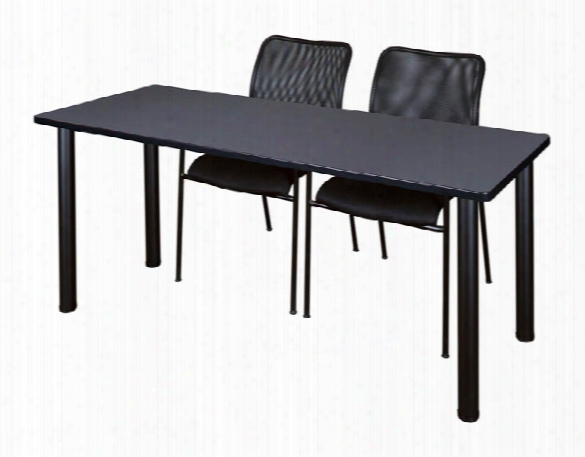 """72"""" X 24"""" Training Table- Grey/ Black & 2 Mario Stack Chairs- Black By Regency Furniture"""