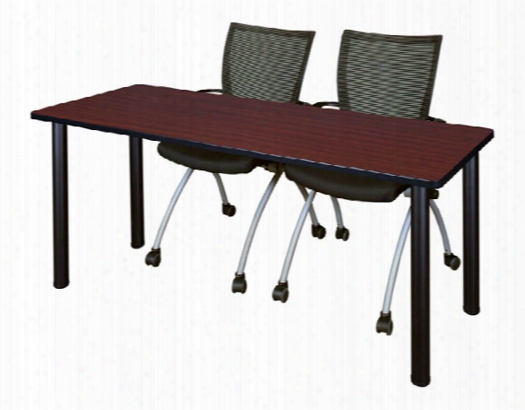 "72"" X 24"" Training Table- Mahogany/ Black & 2 Apprentice Chairs- Black By Regency Furniture"