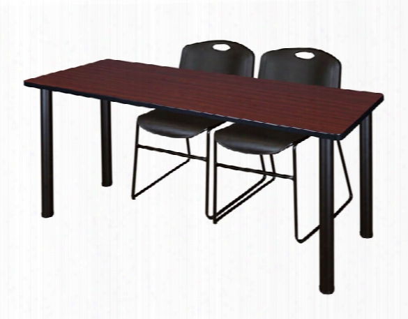 """72"""" X 24"""" Training Table- Mahogany/ Black & 2 Zeng Stack Chairs By Regency Furniture"""