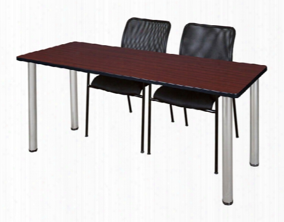 "72"" X 24"" Training Table- Mahogany/ Chrome & 2 Mario Stack Chairs- Black By Regency Furniture"