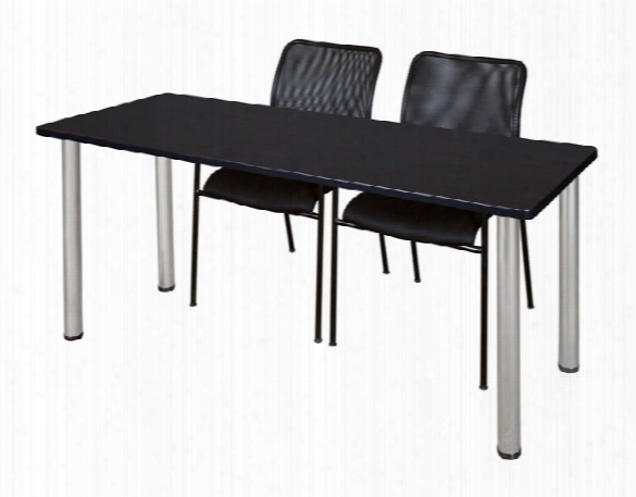 """72"""" X 24"""" Training Table- Maple/ Chrome & 2 Mario Stack Chairs- Black By Regency Furniture"""