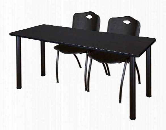 "72"" X 24"" Training Table- Mocha Walnut/ Black & 2 'm' Stack Chairs By Regency Furniture"