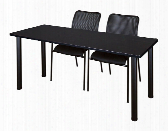 "72"" X 24"" Training Table- Mocha Walnut/ Black & 2 Mario Stack Chairs- Black By Regency Furniture"